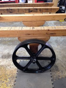 Oak chassis and cast iron wheels for bespoke shepherd's hut