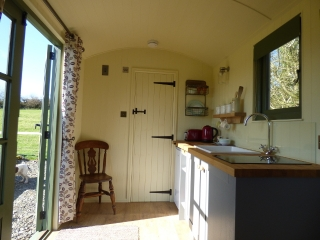 Inside the Shepherd Hut at The Three Spaniels Glamping