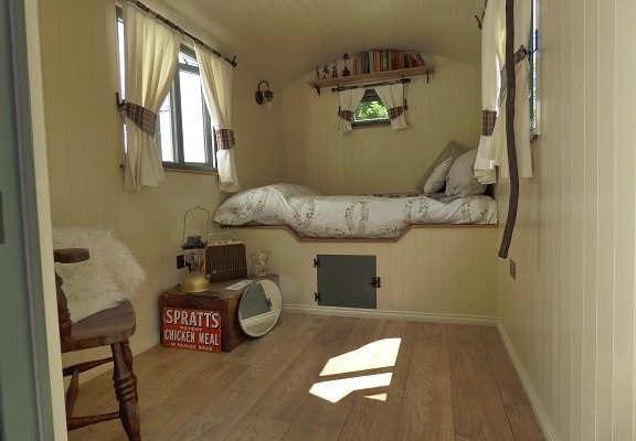 Interior of a bespoke shepherd hut - Stockman Shepherd Huts