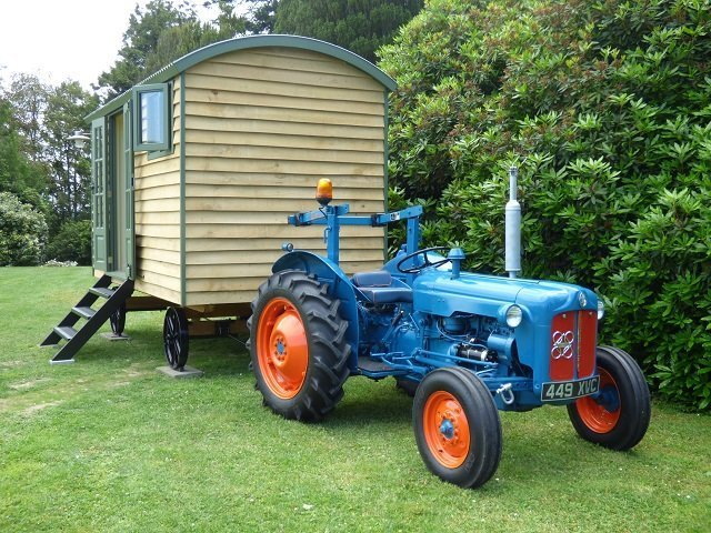 Handmade Bespoke Stockman Shepherd Hut Towed by Old Tractor