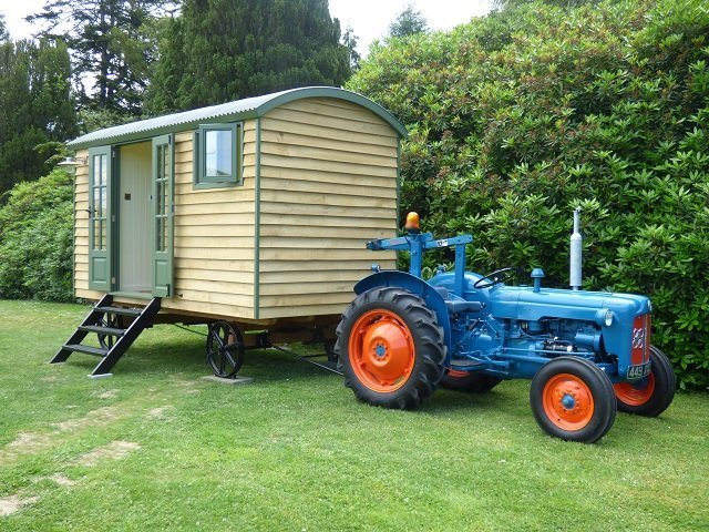 Handmade Bespoke Stockman Shepherd Hut and Old Tractor