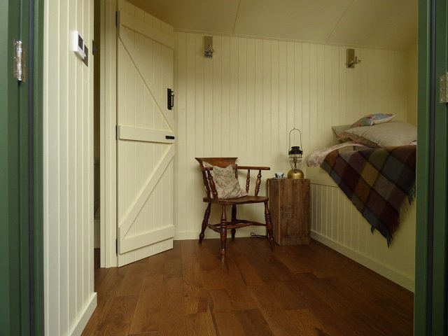 Handmade Shepherd Hut - Bedroom and Oak Flooring