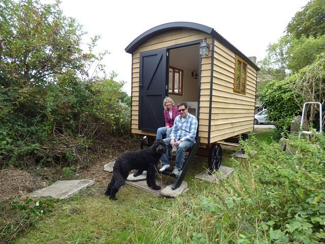 Shepherd Hut with couple & dog