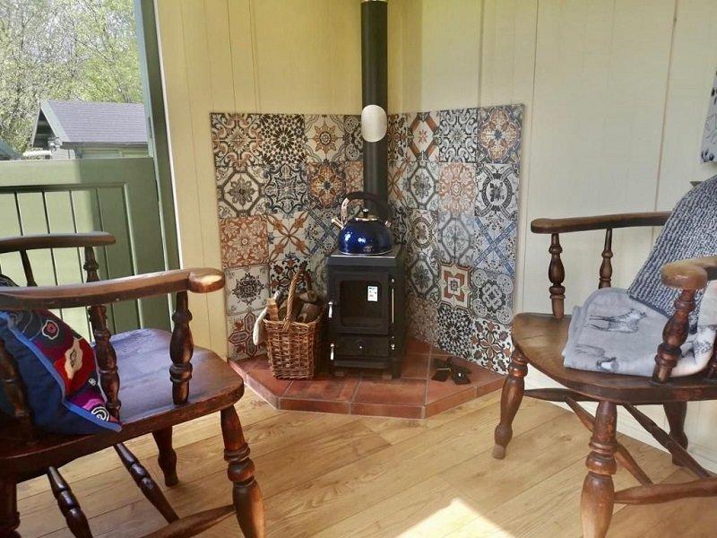 Bespoke Shepherd Hut Logburner & chairs