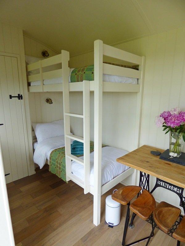 Bunk beds in shepherd's hut