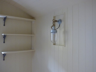 Shelving and light fitting