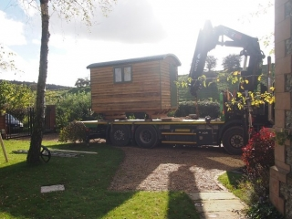 Delivery of hand-made shepherd hut