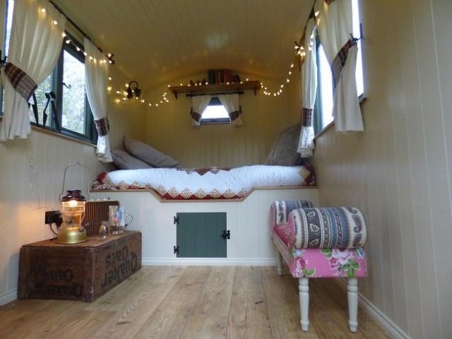 Bespoke shepherd hut with bed & fairy lights