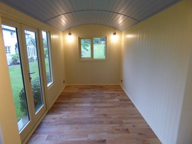 Bespoke shepherd hut with large & light internal space