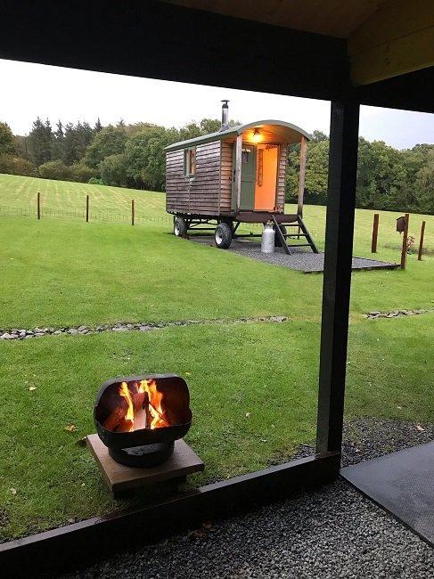 Bespoke shepherd hut with open fire