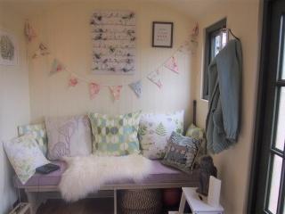 Stockman Shepherd Hut interior seating example