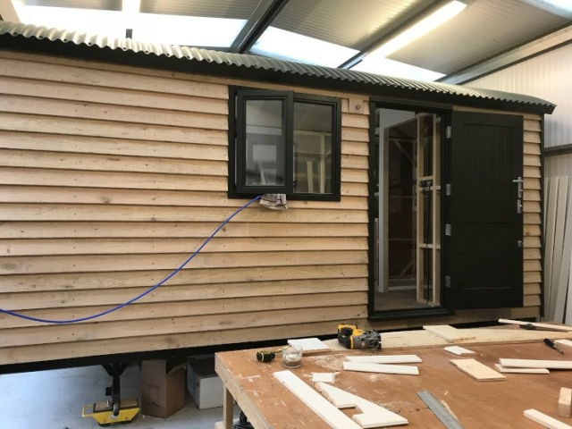 Shepherd's Hut under construction