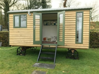 Shepherd's Hut with French doors and long window